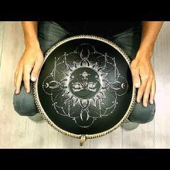 Guda Coin Brass overtone tongue pan. Enigma scale - Sun design. African scale - Moon design