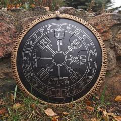 Freezbee. Runes design. Shagreen black