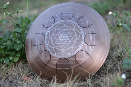Freezbee steel tongue drum. Sri-Yantra. photo 3