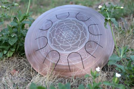 Freezbee steel tongue drum. Sri-Yantra. photo 4
