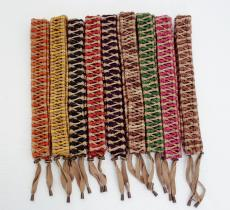 Rope braids for handpans and tongue drums red yellow green brown black purple